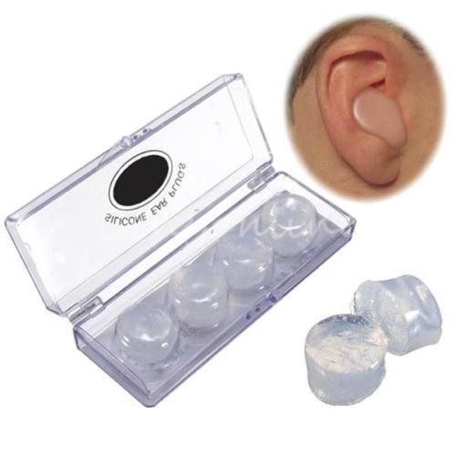 4Silikon-Ohrstöpsel zu Schwimmen, weiche Qualität, Schlafhilfe, Geräuschverminderung, mit Aufbewahrungsbox, transparent