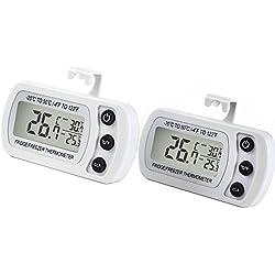 Termometro Digitale per Frigorifero 2PZ LCD Display Termometri Impermeabile da Congelatore Frigo Freezer con Gancio, Bianco