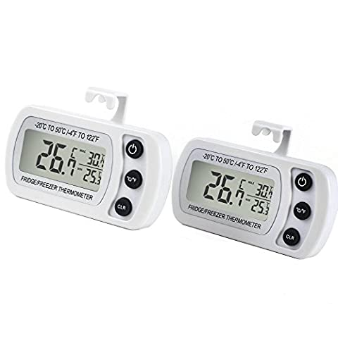 Fridge Thermometer, Waterproof Refrigerator Freezer Thermometer Temperature Monitor Easy to Read LCD Display with Hook (White - Pack of 2)