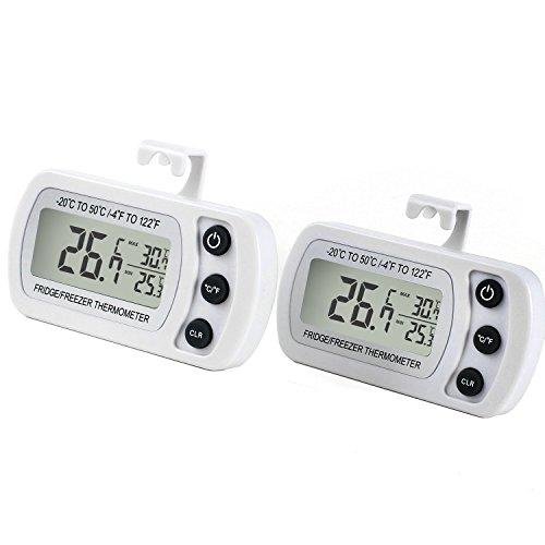 Digitales Kühlschrankthermometer wasserabweisend Gefrierschrankthermometer für Gefrierschrank, Kühlschrank, Tiefkühltruhe, Weinkühlschrank, Minibar (Weiß*2)