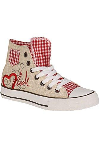 Trachten Sneaker im Chucks Look rot 'Madl mit Herz', rot, 41