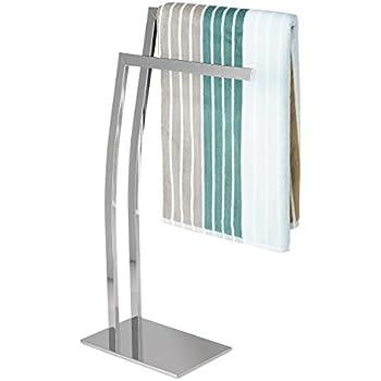 Relaxdays Handtuchhalter WIMEDO eckig H x B x T: ca. 80 x 32 x 20 cm freistehender Handtuchständer mit 2 Handtuchstangen und einem eckigen Standfuß als dekoratives Badaccessoire aus Edelstahl, silber