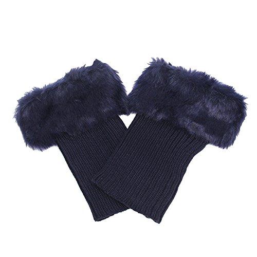 iKulilky Frauen Damen Winter Stiefel Manschetten Socken Abdeckungs Deckel Häkelarbeit gestrickte Faux Pelz Bein Wärmer Knit Stulpen Strümpfe Stiefel Topper Cuff