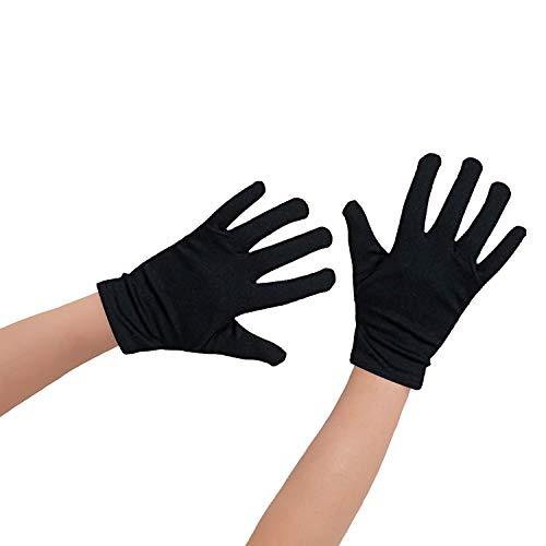 Oblique Unique® 1 Paar Kinder Handschuhe in Schwarz aus Baumwolle - auch für kleine Erwachsenenhände geeignet (Schwarze Handschuhe Kostüm)