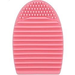 Lumanuby. 1 pieza. Guante de silicona para limpieza de brochas de maquillaje. Limpiador de cosméticos de silicona, de limpieza fácil y rápida (rosa).