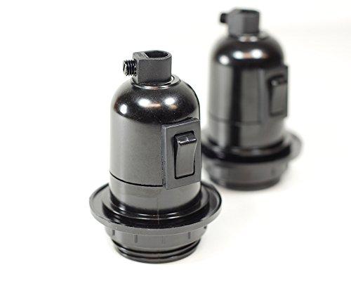 Vendimia Lighting Co. Lot de 2 porte-ampoules à visser en bakélite avec interrupteur intégré style rétro Noir E27