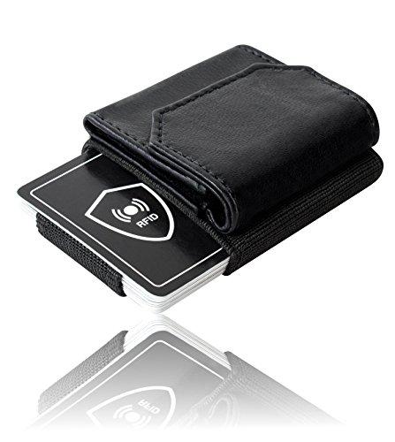Premium Herren Geldbörse – inklusive RFID Schutzkarte für 100%igen Ausleseschutz – hochwertiges Mini Portemonnaie aus Naturleder – der edle und schlanke Geldbeutel für den modernen Mann (Geldbörse 100% Herren)