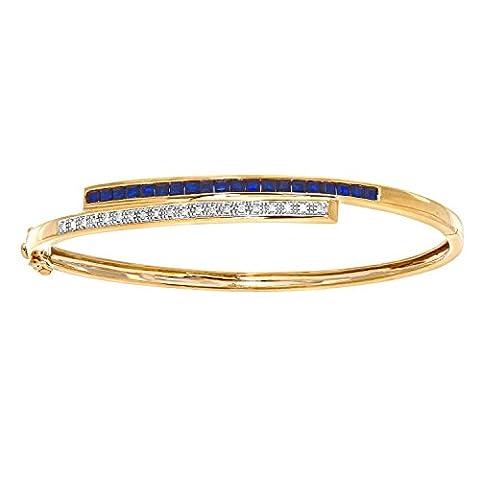 Naava Women's 9 ct Yellow Gold 0.10 ct Diamond and Sapphire Double Row Bangle