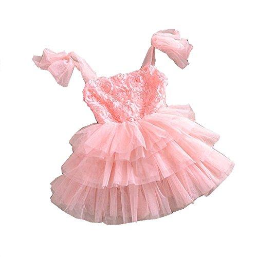 TheTickleToe Baby Girls Birthday Party Dress Pink Rose Flower Tutu Net Summer 18-24 Months