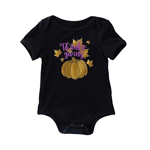 SEWORLD Baby Halloween Kleidung,Neugeborenes Niedlich Kleinkind Infant Baby Mädchen Jungen Kürbis Drucken Strampler Outfits Kleidung(C-schwarz,3 Monate)