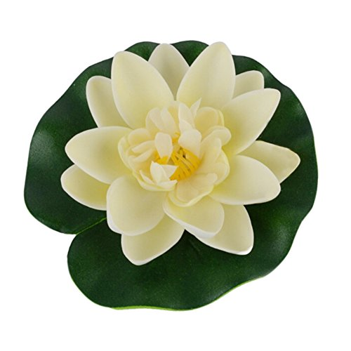 Pool Dekor (chengya Künstliche Fake Lotus Seerose Floating Flower Garden Pool Pflanze Ornament Fish Tank Decor cremeweiß)
