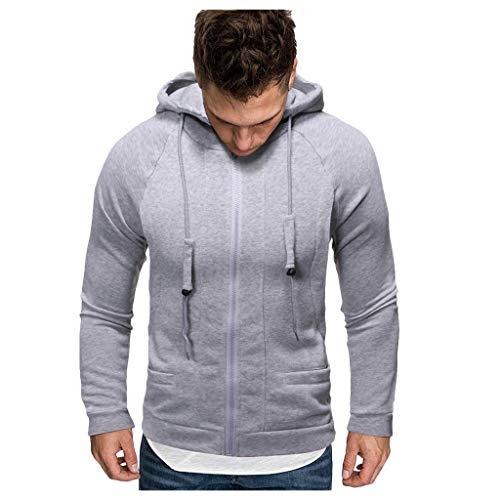 Auied Herren Herbst Winter Solide Lange Ärmel Reißverschluss Mit Kapuze Comfortable Fit Sweatshirt Sweatshirt