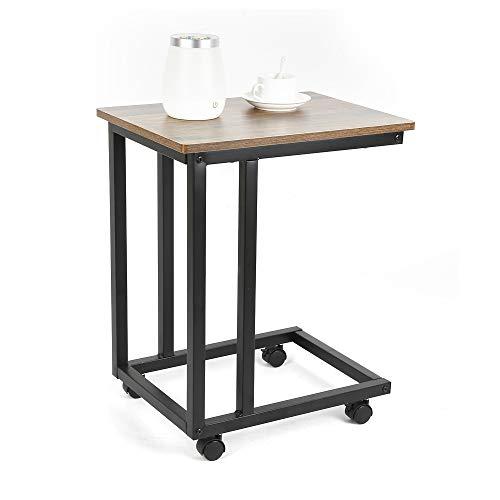 Table Basse Mobile,Inspiration Industrielle,Armature métallique Rigide,avec des Roues, Aspect Vieux Bois,35 × 50 × 62cm