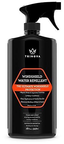 Windscreen Rain Repellent - Protect glass from water | hydrophobic technology makes liquid bead up | TriNova