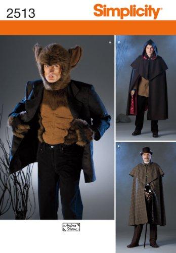 Werwolf Kostüm Muster - Simplicity Muster 2513Herren Kostüme Werwolf, Dracula, Inspector (BB L, XL)