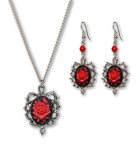 Real Metal Gótico rojo rosa Cameo rodeado por Thorns colgante collar colgantes pendientes conjunto de joyería