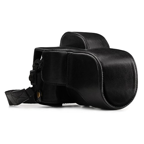 MegaGear Ever Ready Echtleder Kamera-Case mit Trageriemen und Batteriezugang Fujifilm X-E3 (23mm & 18-55mm) schwarz MG1339
