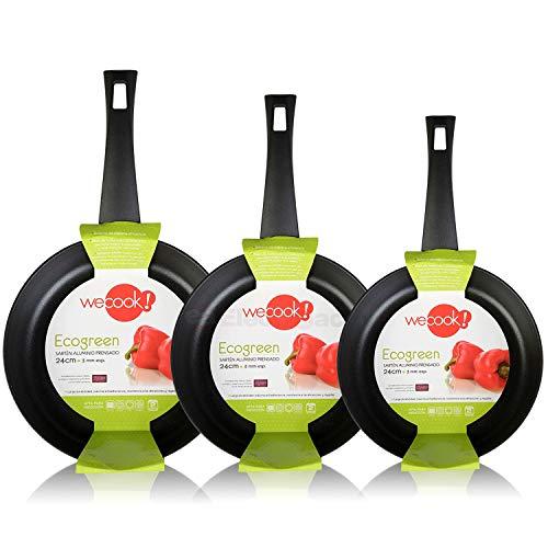 WECOOK Ecogreen Set Juego 3 Sartenes 18-20-24 cm Aluminio, inducción, Antiadherente ecológico sin...