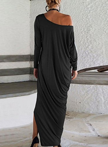 Azbro Women's One Shoulder Ruffled Slit Maxi Dress Blue