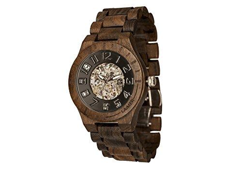 LAiMER 0050 - RUDOLPH, Orologio analogico da polso, movimento scheletrato - 21 Jewels, legno Ebano, uomo