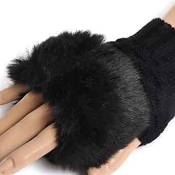 TOOGOO (R) Dame Winter kuenstliche kurze schwarze Haare Mund Strickhandschuhe - schwarz