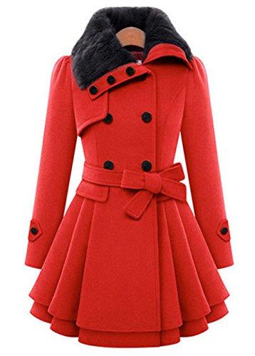 Femme Mi-long Manteau Laine Parkas Double Boutonnage Trench-coat Veste Épaise Avec Ourlet Asymétrique Coat Manteaux Chaud Automne Hiver Gabardine Coupe Cintrée Outwear YOSICIL