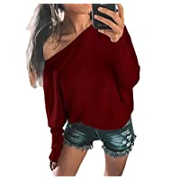 GAGA Women's Casual Knitwear Sleeveless Casual Solid Color Loose Oblique Off The Shoulder Tunic Top Wine Red L