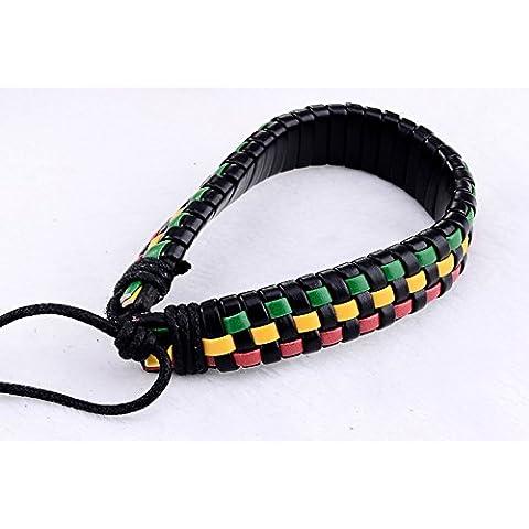 SaySure - Wrap Leather Bracelets & Bangle Men and (Apatite Strand)