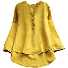 Femmes Fille Chemisier T-Shirt à Manches Longues Rétro Coton et Lin Pas  Cher Chic 3c38af72e50