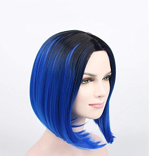 lquide Kurze Blaue Gerade Bob Perücke Mittelscheitel Dunkle Wurzeln Weiche Synthetische Hochtemperaturfaser Haar für Frauen Halloween Cosplay Party Täglichen Gebrauch Kostüm