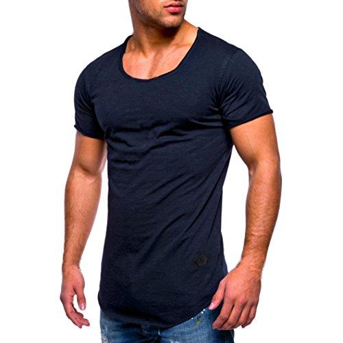 Herren Shirt, Casual Basic Einfarbige Rundhalsausschnitt Slim Fit Verschiedene Tee Kurzarm T-Shirt Sportswear Sweatshirt Tanktop (L, Marinenblau)
