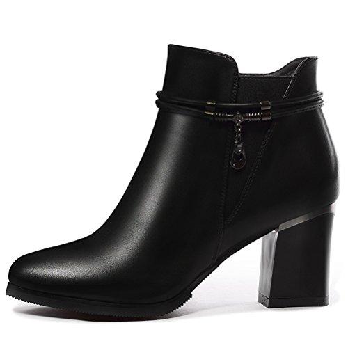 Damen Winter Blockabsatz Aufzug Stiefeln Reißverschluss Dicke Plattform Einfache Riemenband Bequeme Schuhe Schwarz