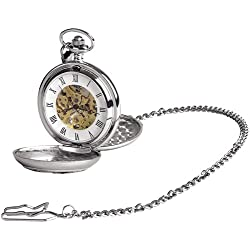 Skeleton 17 Jewel Movement Pocket Watch Plain
