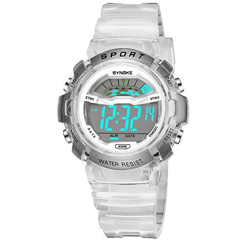 Bestow Reloj Deportivo LED Reloj de Fecha Reloj Digital Impermeable Luminoso Impermeable para Ni?os Ni?o Estudiante Impermeable(Blanco)