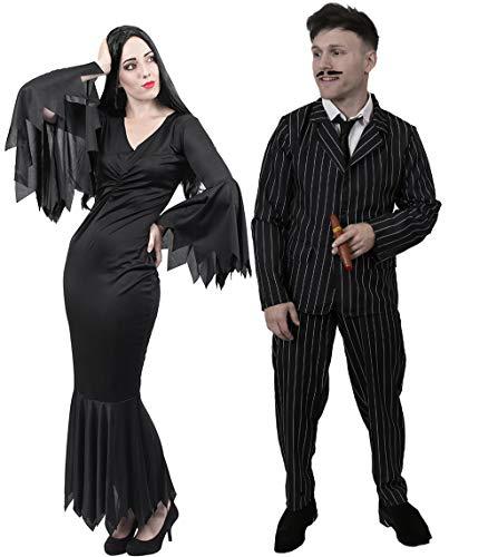 ILOVEFANCYDRESS Halloween Gothic Paar KOSTÜM FÜR - MR and MRS AUS Film UND Fernsehen - BEIDE KOSTÜME SIND ERHALTBAR IN VERSCHIEDEN GRÖSSEN ZUSAMMEN STELLUNGEN (Frauen: Medium & MÄNNER: X-Large) (Morticia Und Gomez Addams Paare Kostüm)