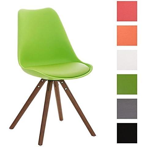 CLP Sedia in design-retró PEGLEG con struttura in legno color noce, mix di materiali:polipropilene, similpelle e legno, fino a 6 colori a scelta verde