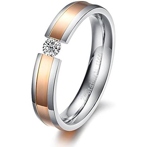 Bishilin Acciaio Inossidabile Nero(Uomo) | Rosa Oro(Donna) Cubic Zirconio Amicizia Anello Fidanzamento per Anniversario