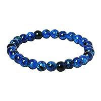 qingsb Handmade 8mm Glass Round Beaded Bracelet Stretch Bangle Women Friendship Gift - Blue