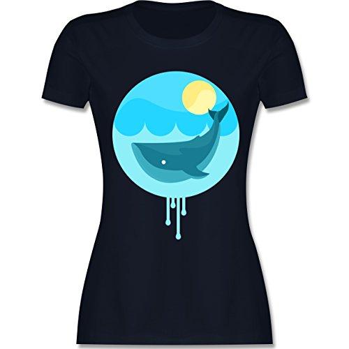 Sonstige Tiere - Wal - tailliertes Premium T-Shirt mit Rundhalsausschnitt für Damen Navy Blau