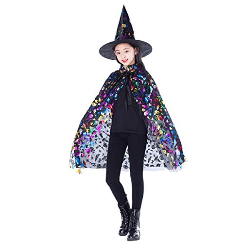 DoMoment Neue Gold Rot Lila Kinder Happy Halloween Magier Kostüm Set Zauberer Hexe Mantel Cape Robe Und Hut Für Jungen Mädchen Geschenke