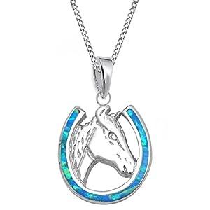 GH* Opal Hufeisen mit Pferdekopf ANHÄNGER + KETTE 925 Echt Silber Mädchen Damen Pferde CH24