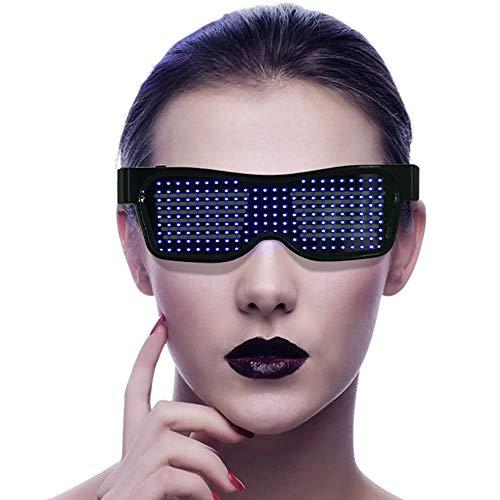 LayOPO Anpassbare LED Brille, App-Steuerung DIY, Blinkt - Nachrichten anzeigen, Animation, Zeichnungen, Leuchtendes Spielzeug Für Party, Konzert, Bar, Rave, Festival, Usw