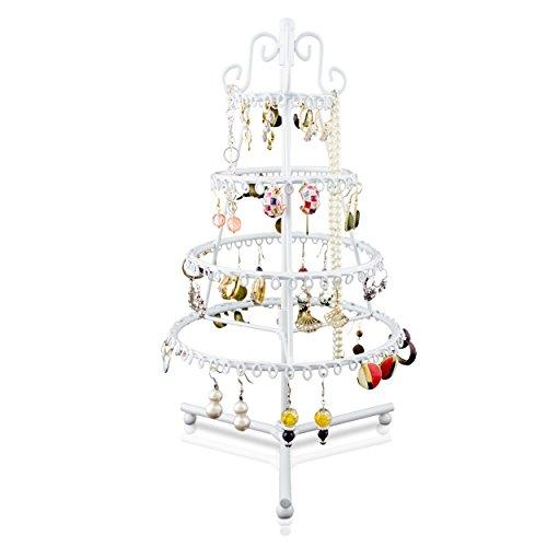 Portagioie girevole a forma di abete - bianco 35 x 18 x 18 cm - organizer a 4 piani per esposizione bijoux - grinscard