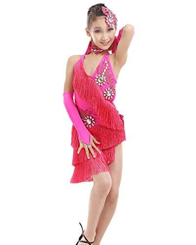 DianShaoA Mädchen Kleid Latin Tanzkleid Pailletten Gesellschaftstanz Kleider Dancewear Tango Samba Performance Kostüme Rose 170