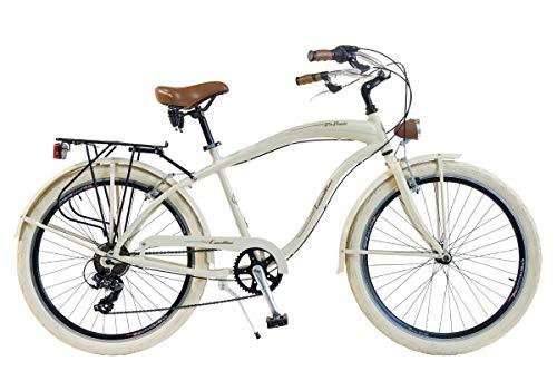 Via Veneto by Canellini Bicicleta Bici Citybike CTB Hombre Vintage Via Veneto American Cruiser Aluminio (Beige)