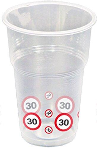 Folat Traffic Schild Geburtstag Party Becher (Pack von 10)-30. Geburtstag