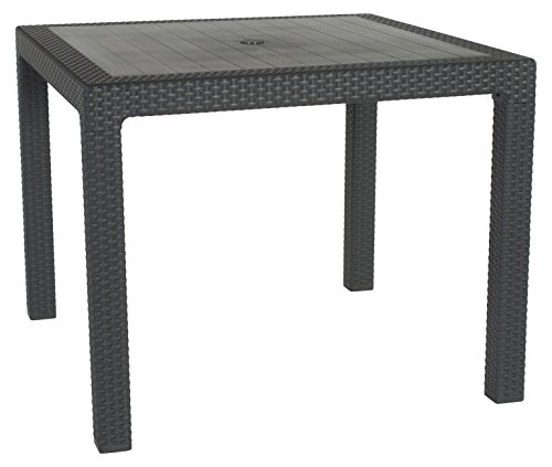 Keter Quartet 4 Seater Rattan Patio Outdoor Garden Furniture Dining Table - Graphite