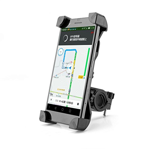 Queena City Bike universale per supporto per manubrio moto, Iphone 6/6S, 6/6S Plus, 5, 5S, per telefoni da 3 - 7 pollici. Larghezza, garanzia a vita, colore: nero