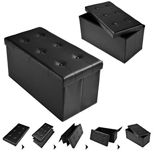 COSTWAY Sitzbank Sitzhocker Sitzbox Aufbewahrungsbox, Sitzwürfel Hocker, Polsterhocker faltbar, Truhe Bank, Sitztruhe PVC-Leder 76 x 38 x 38cm, Sitzkasten Farbwahl (Schwarz)