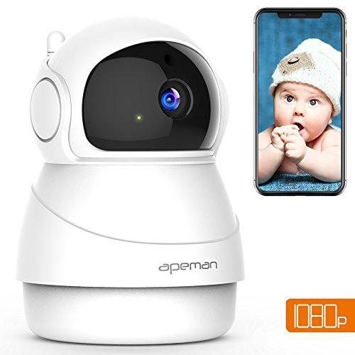 APEMAN 1080P IP Cámara WiFi,Cámara de Vigilancia Seguridad para casa con Visión Nocturna, Audio de 2 Vías, Detector de Movimiento Pan/Tilt, P2P/Ovnif/2.4GHz, Compatible con iOS/Android